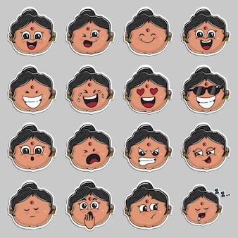 Indiase tante gezicht sticker set