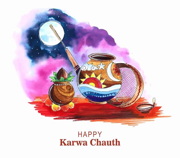 Indiase traditionele festival gelukkige karwa chauth achtergrond