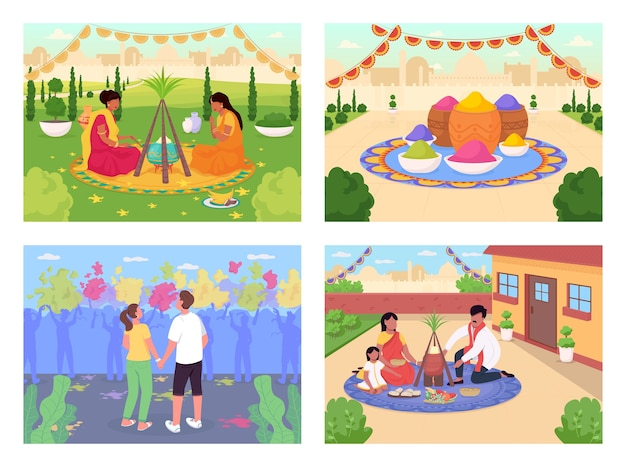 Indiase vakantie egale kleur illustratie set