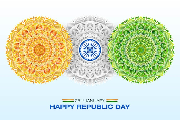 Indiase vlag concept republiek dag mandala art