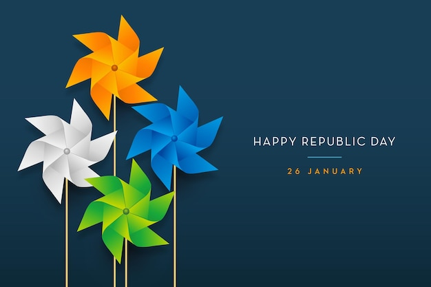 Indiase vlag concept republiek dag trio kleur pinwheel