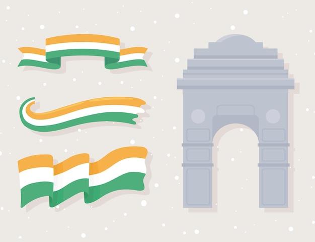 Indiase vlaggen en poort
