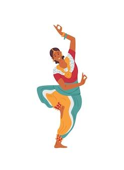 Indiase vrouw in traditionele outfit dansen aziatisch vrouwelijk personage