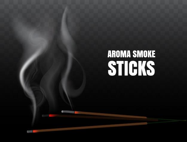 Indiase wierook joss sticks met realistische rook branden op transparante achtergrond. illustratie van boeddhistische bidden en vuurmeditatie met aroma wierookstokje