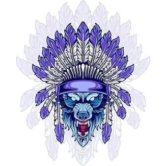 Indiase wolf hoofd dierlijke illustratie
