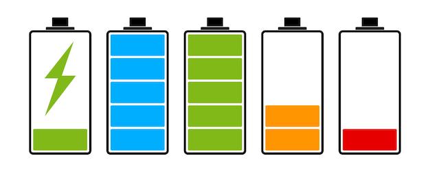 Indicator voor laadniveau van de batterij. set van batterijpictogram. vector illustratie.