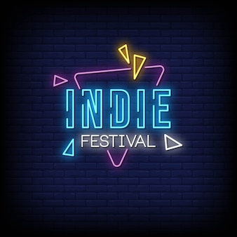 Indie festival neon signs style text