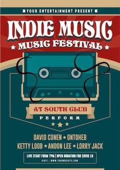 Indie-muziekfestival night party-flyer