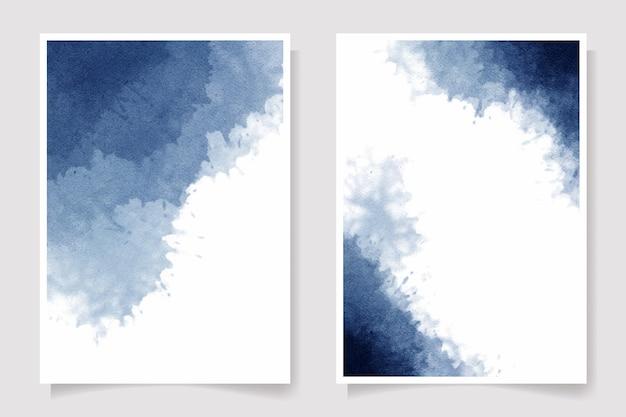 Indigo aquarel nat wassen splash uitnodiging kaartsjabloon collectie