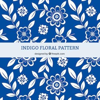 Indigo bloemmotief