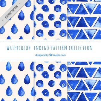 Indigo patronen, met de hand geschilderd