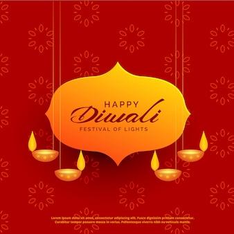 Indisch diwali festival wenskaart ontwerp met hangende lampen