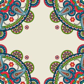 Indisch doodle paisley gekleurd frame