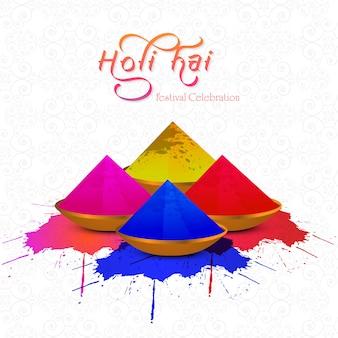 Indisch festival van kleuren met gulal gelukkige holi-viering