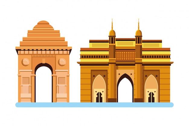 Indisch het pictogrambeeldverhaal van bouwmonumenten