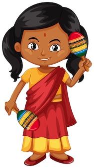 Indisch meisje dat maracas schudt