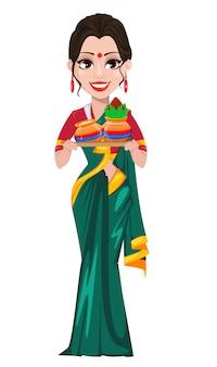 Indisch meisje dat twee potten houdt