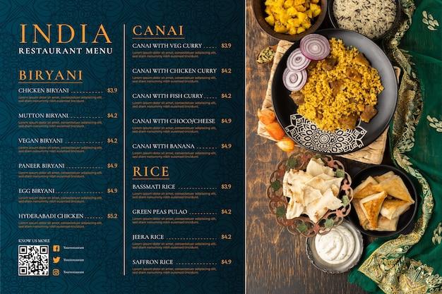 Indisch menu met plat ontwerp