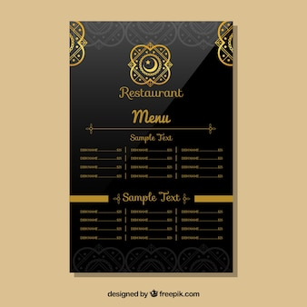 Indisch restaurant menu template