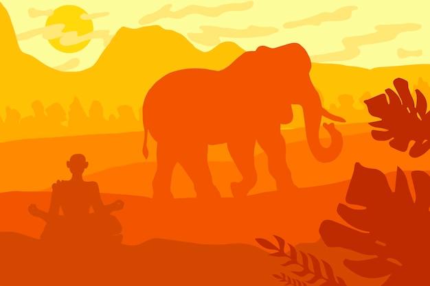 Indisch tropisch landschap met olifant en monnik. vector