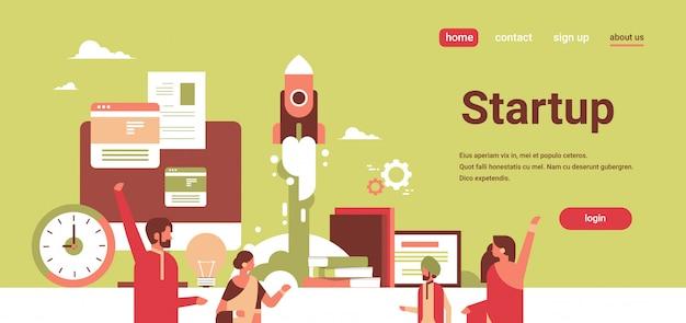 Indische bedrijfsmensen die nieuw succesvol startup projectconcept creëren