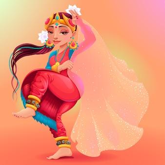 Indische danser die de sluier van maya cartoon vector geïsoleerd karakter vertegenwoordigt