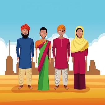 Indische groep van india cartoon