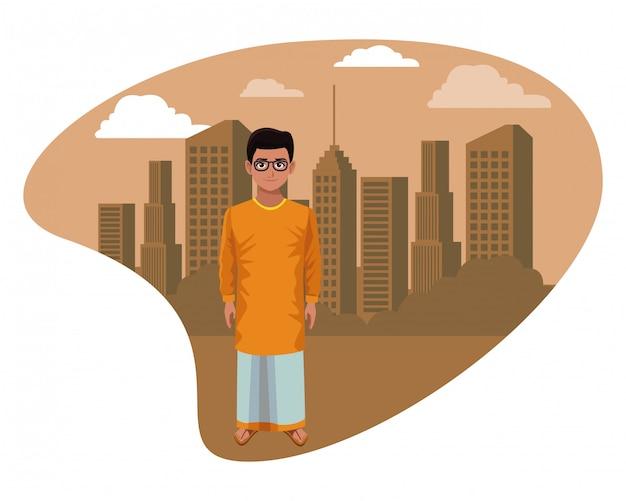 Indische jongen die traditionele hindoese kleren draagt