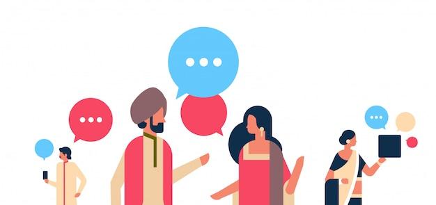 Indische mensen chat bubbels communicatie banner