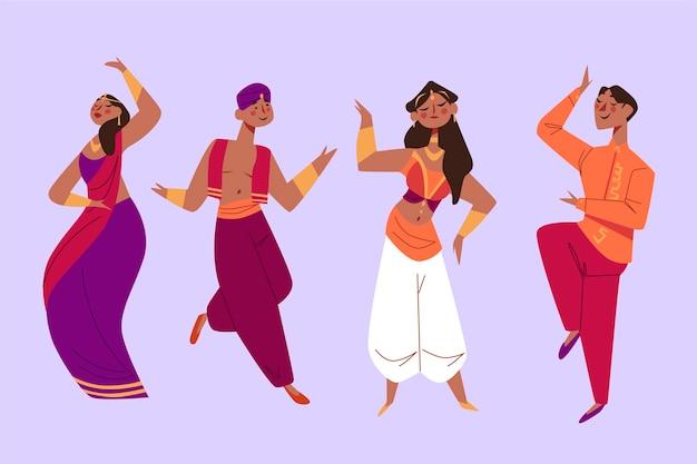 Indische mensen die bollywoodstijl dansen