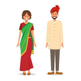 Indische mensen in nationale klederdracht.