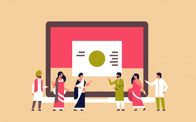 Indische mensen zakelijke presentatie diagram grafiek samen te werken teamwerk