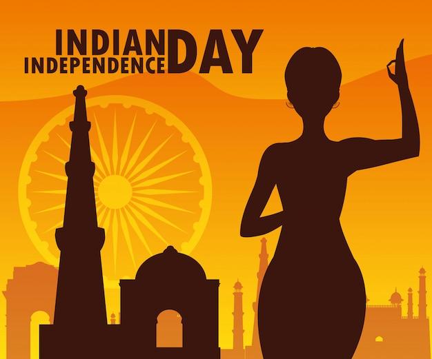 Indische onafhankelijkheidsdag met vrouwensilhouet en moskee