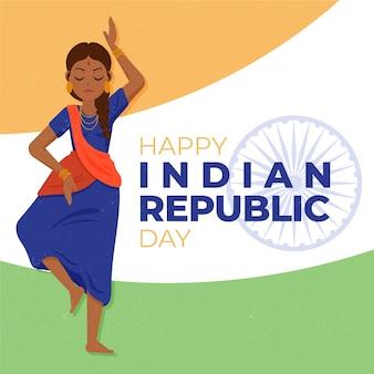 Indische republiek dag hand getrokken achtergrond