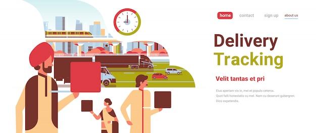 Indische zakenmensen met behulp van laptop snelle levering tracking service concept zakenman