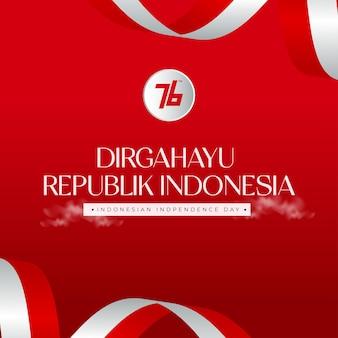 Indobesis 76e onafhankelijkheidsdag viering achtergrond met wapperende vlag