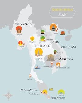 Indochina kaart met nationale hoofdstad monumenten