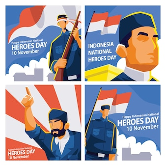 Indonesia heroes day social media post-sjabloon met illustratie van het heldenkarakter