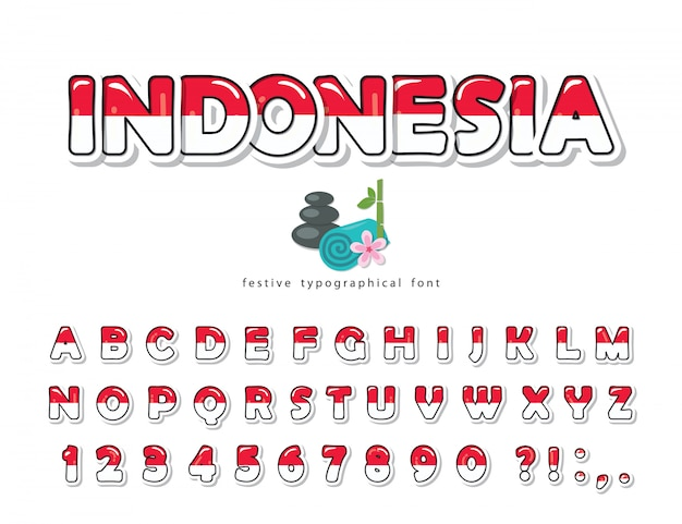 Indonesië cartoon lettertype. indonesische vlag kleuren.