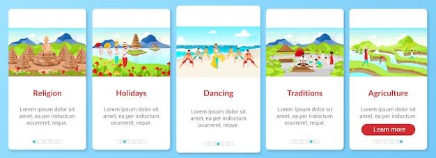 Indonesië cultuur onboarding mobiele app schermsjabloon. toeristische attracties. walkthrough website stappen met platte karakters. ux, ui, gui smartphone cartoon interface-concept