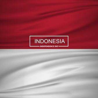 Indonesië golvende vlag met typografie