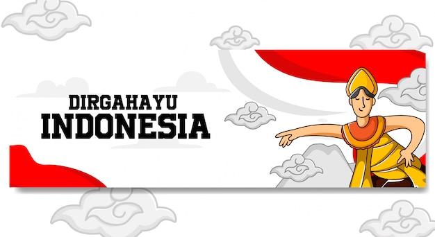 Indonesië onafhankelijkheidsdag landschap banner ontwerp