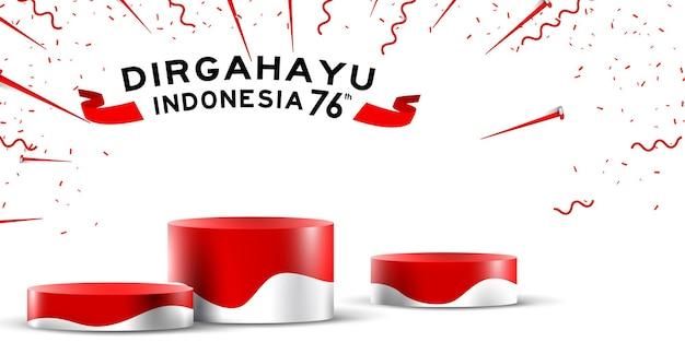 Indonesië onafhankelijkheidsdag lege podiumvertoning of voetstukvertoningsdecoratie met cilindertribune