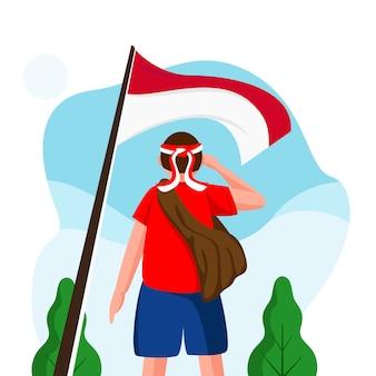 Indonesië onafhankelijkheidsdag vlakke afbeelding