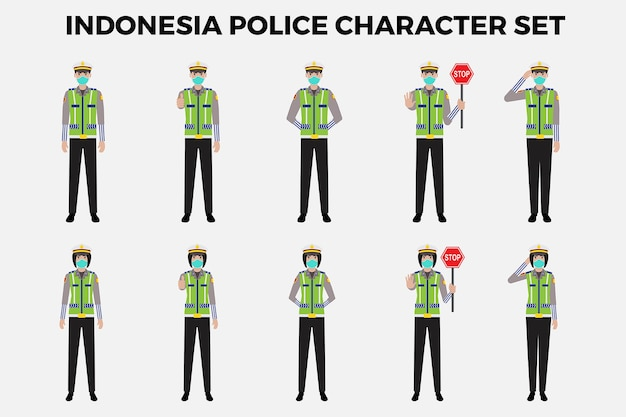 Indonesië politie tekenset illustratie