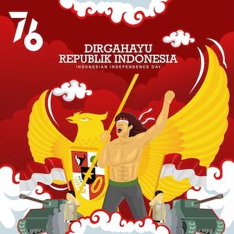 Indonesië's 76e viering van de onafhankelijkheidsdag achtergrond