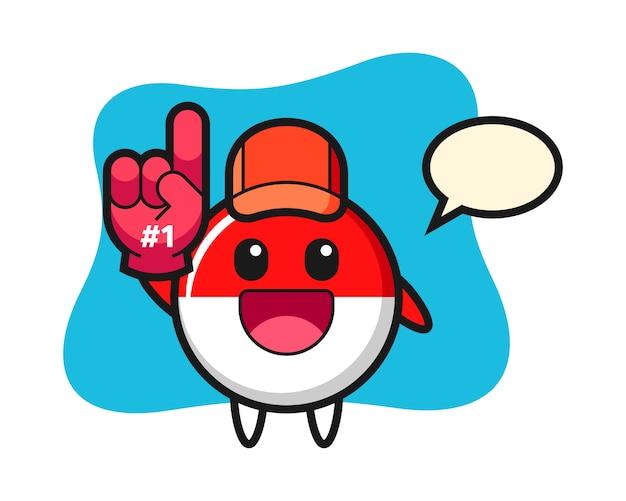 Indonesië vlag badge illustratie cartoon met nummer 1 fans handschoen