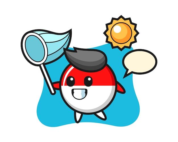 Indonesië vlag badge mascotte illustratie vangt vlinder