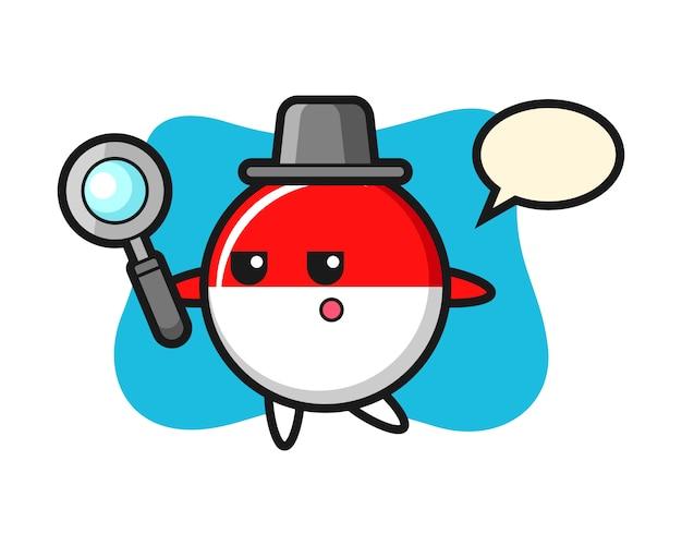 Indonesië vlag badge stripfiguur zoeken met een vergrootglas