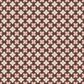 Indonesisch batik naadloos patroon met verschillende motieven javaanse traditionele cultuur, batik kawung in bruin roze colorway, kan op hele doek worden toegepast